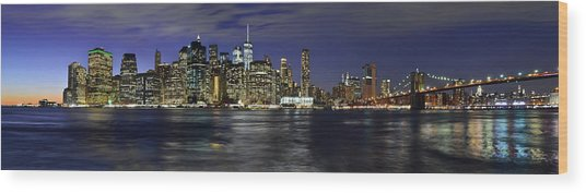 Lower Manhattan From Brooklyn Heights At Dusk - New York City Wood Print