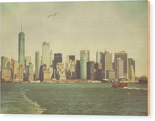 Lower Manhattan From The Ferry Wood Print by Erin Cadigan