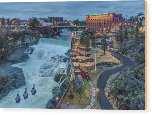 Lower Spokane Falls Early Spring Wood Print