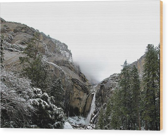 Lower Yosemite Falls California Wood Print by Larry Darnell