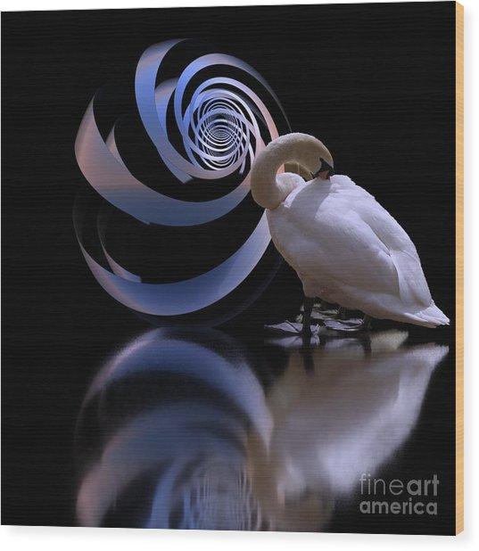 Loxodrome And Swan Wood Print