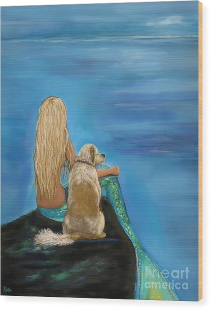 Loyal Mermaids Friend Wood Print