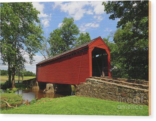 Loys Station Covered Bridge Frederick County Maryland Wood Print