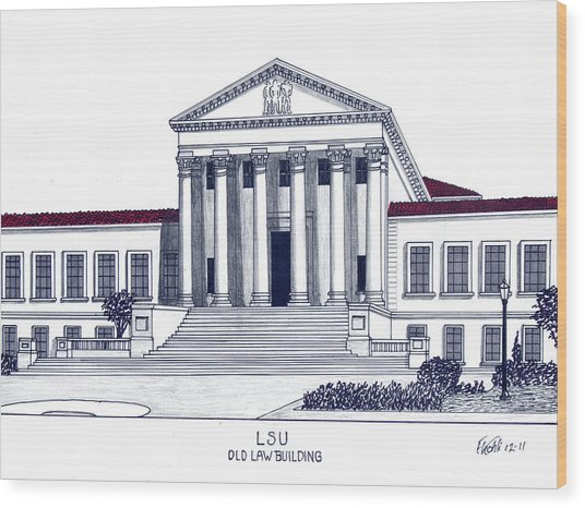 Lsu Old Law Building Wood Print