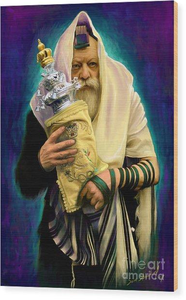 Lubavitcher Rebbe With Torah Wood Print