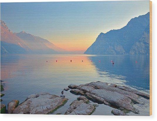 Luce Della Sera Sul Lago Di Garda  Wood Print