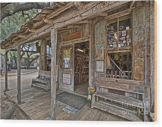 Luckenbach Post Office And General Store_4 Wood Print