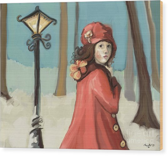 Girl In The Snow Wood Print
