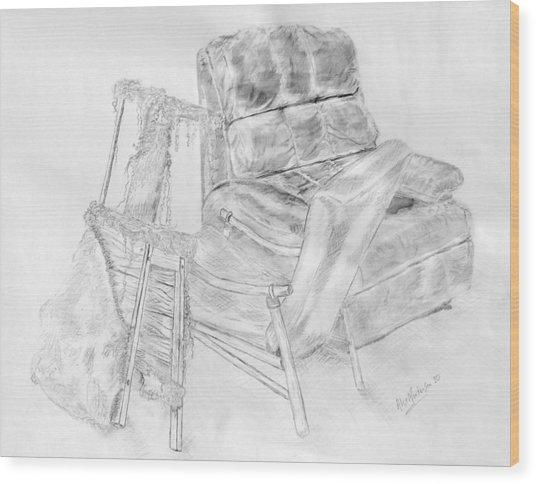 Lucya's Stool  2010 Wood Print by Alex Mortensen