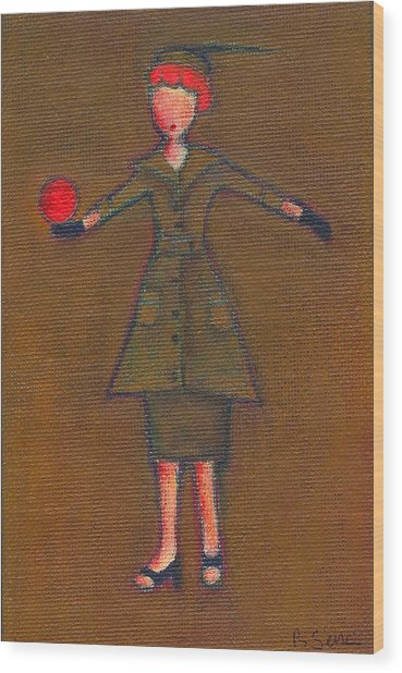 Lucy's Burning Red Ball Wood Print
