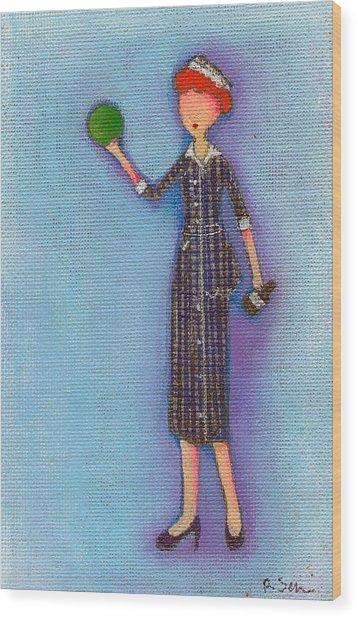 Lucy's Drunken Green Ball Wood Print