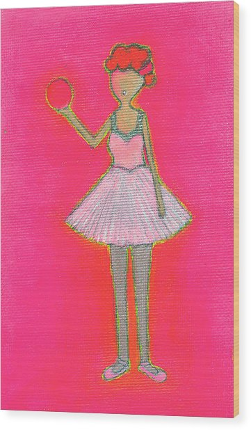 Lucy's Hot Pink Ball Wood Print