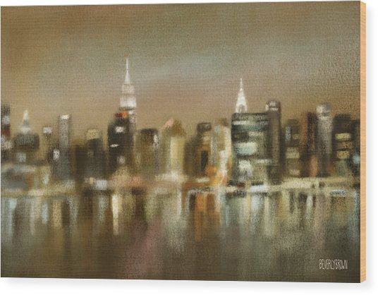 Luminous New York Skyline  Wood Print