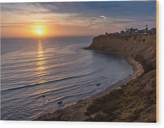 Lunada Bay Sunset Wood Print