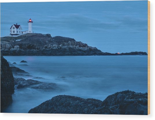 Lunar Perigee Moonrise And Nubble Lighthouse, Cape Neddick, York Wood Print