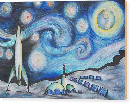 Lunar Starry Night Wood Print by Jerry Mac