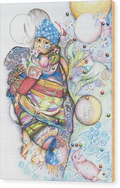 Lunas Y Estrellas Perdidas- Sombra De Arreguin Wood Print