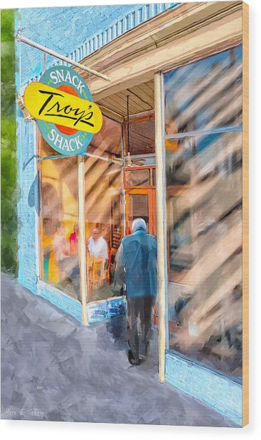 Wood Print featuring the mixed media Lunch At Troy's Snack Shack by Mark Tisdale