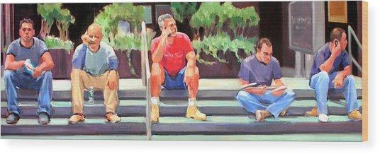 Lunch Break - Men At Work Series Wood Print by Merle Keller