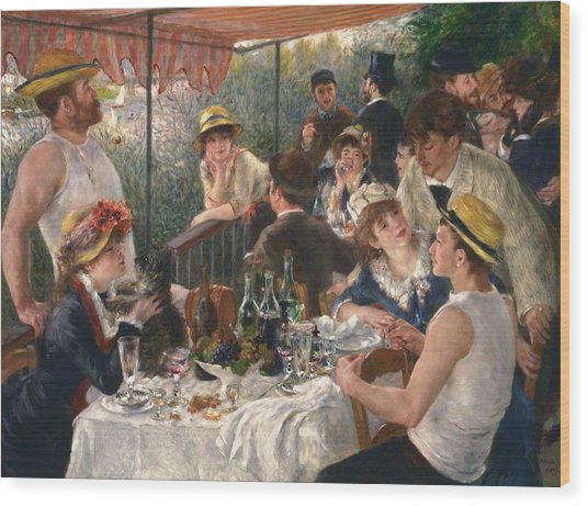 Luncheon Of The Boating Party By Renoir Wood Print
