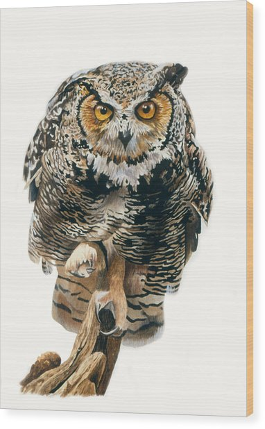 Wood Print featuring the painting Lunchtime - Great Horned Owl by Bob Nolin