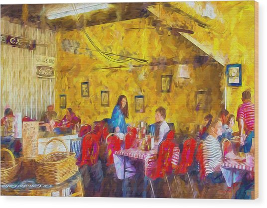 Lunchtime - Country Cafe Wood Print by Barry Jones