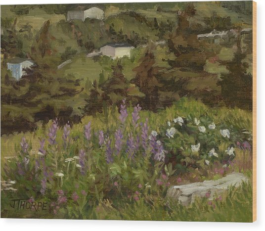 Lupine And Wild Roses Wood Print