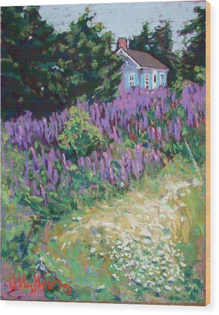 Lupine Cottage In Maine Wood Print by Hillary Gross