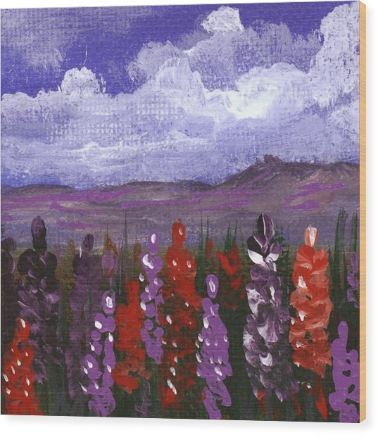 Wood Print featuring the painting Lupine Land #2 by Anastasiya Malakhova