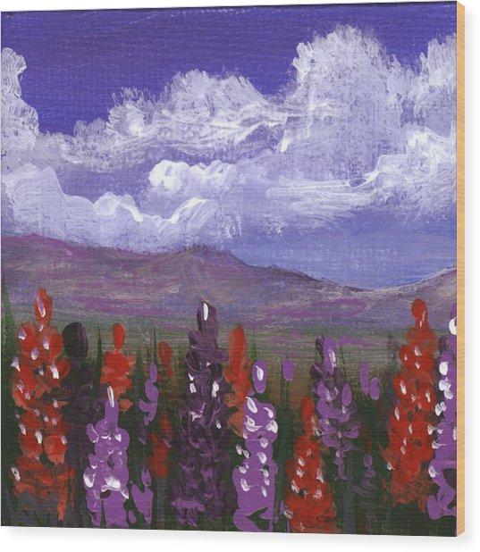 Wood Print featuring the painting Lupine Land #3 by Anastasiya Malakhova