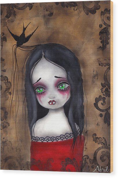 Luzie Wood Print by  Abril Andrade Griffith