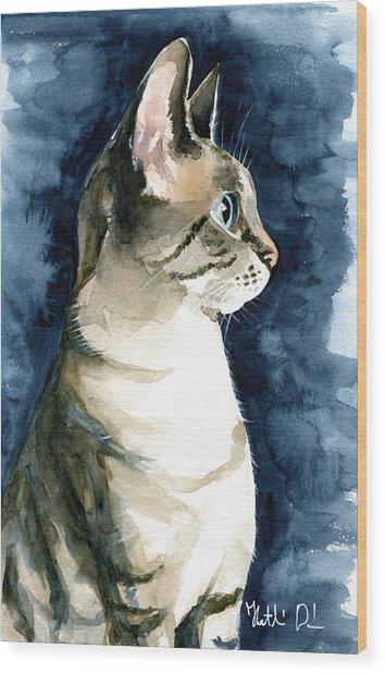 Lynx Point Cat Portrait Wood Print