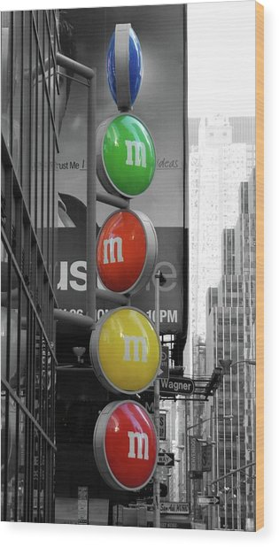 M And Ms In New York City Wood Print