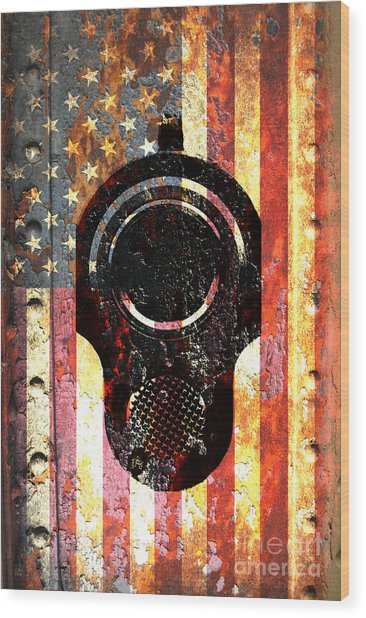 M1911 Colt 45 On Rusted American Flag Wood Print