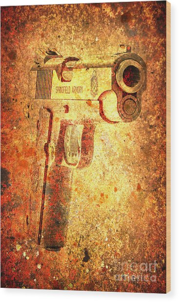M1911 Muzzle On Rusted Background 3/4 View Wood Print