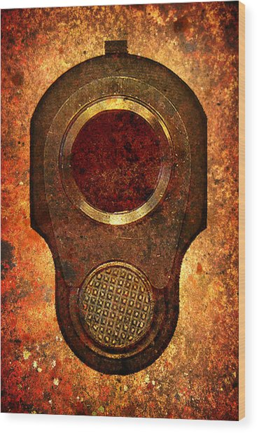 M1911 Muzzle On Rusted Background Wood Print