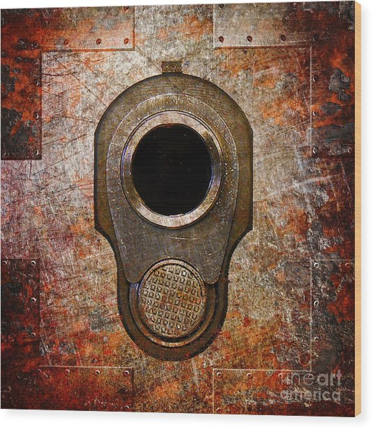 M1911 Muzzle On Rusted Riveted Metal Wood Print