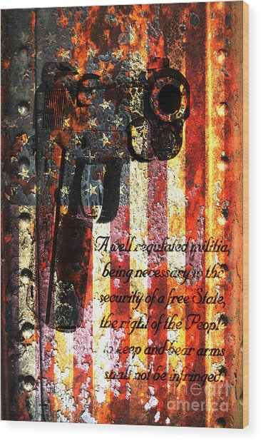 M1911 Pistol And Second Amendment On Rusted American Flag Wood Print