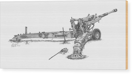M198 Howitzer - Natural Sized Prints Wood Print