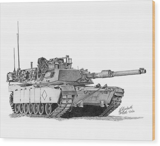 M1a1 Battalion Commander Tank Wood Print