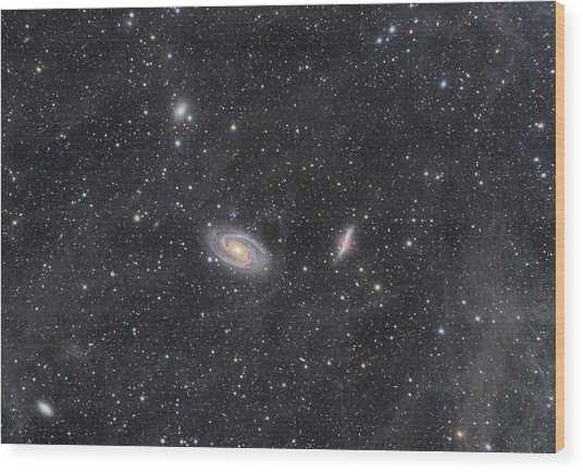 M81 And M82 Widefield Wood Print