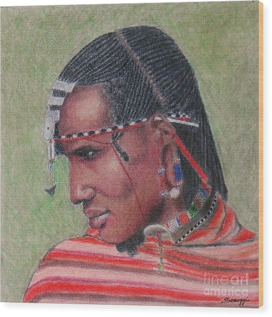 Maasai Warrior II -- Portrait Of African Tribal Man Wood Print