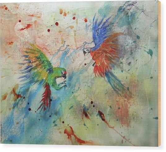 Macaws In Flight Wood Print