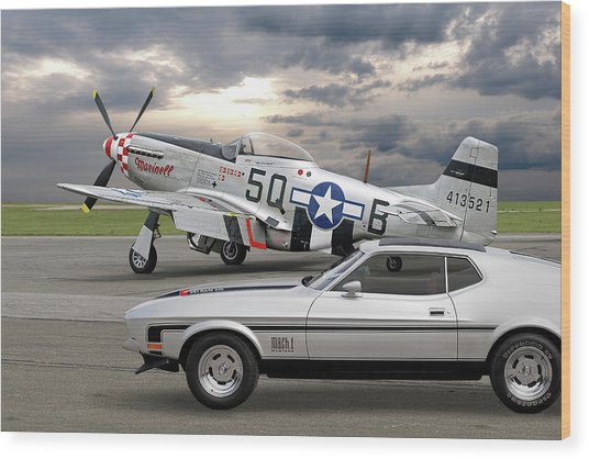 Mach 1 Mustang With P51  Wood Print