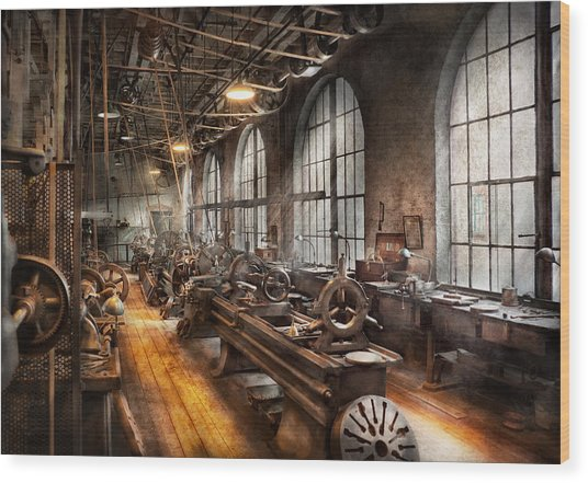 Machinist - A Room Full Of Lathes  Wood Print