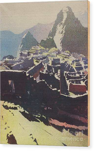 Machu Picchu Morning Wood Print