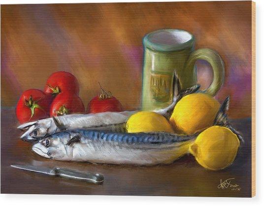 Mackerels, Lemons And Tomatoes Wood Print