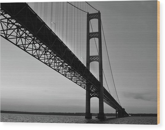 Mackinac Bridge At Sunset Wood Print