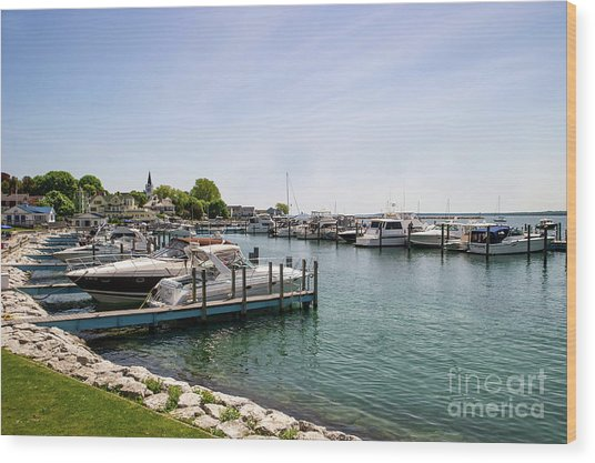 Mackinac Island Marina Wood Print