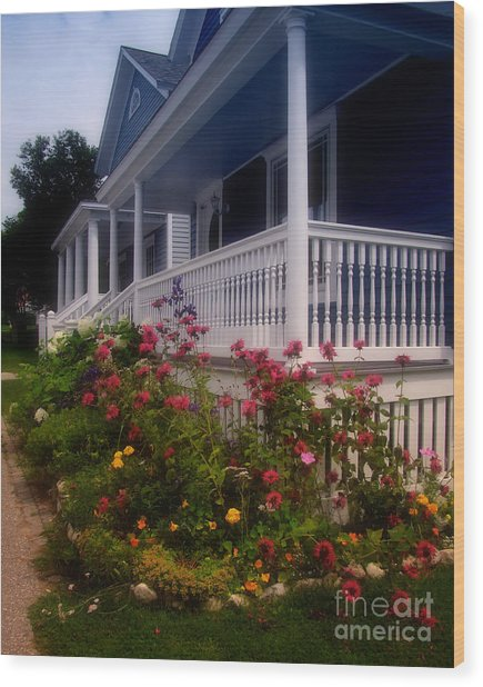 Mackinac Island Victorian Wildflower Garden Wood Print